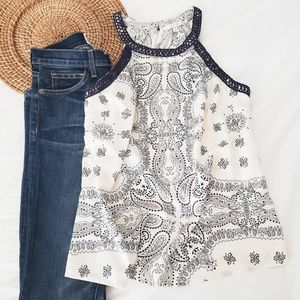 Skies Are Blue Tops - Skies are blue navy paisley print sleeveless top